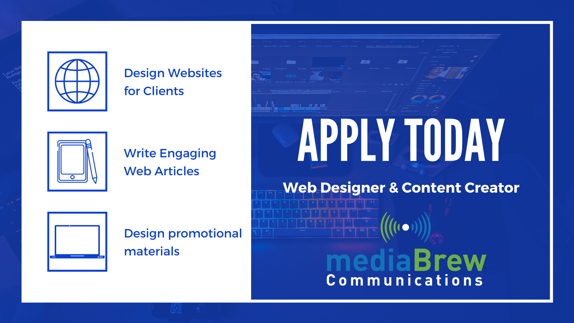 Apply to work as a Web Designer and Content Creator at mediaBrew